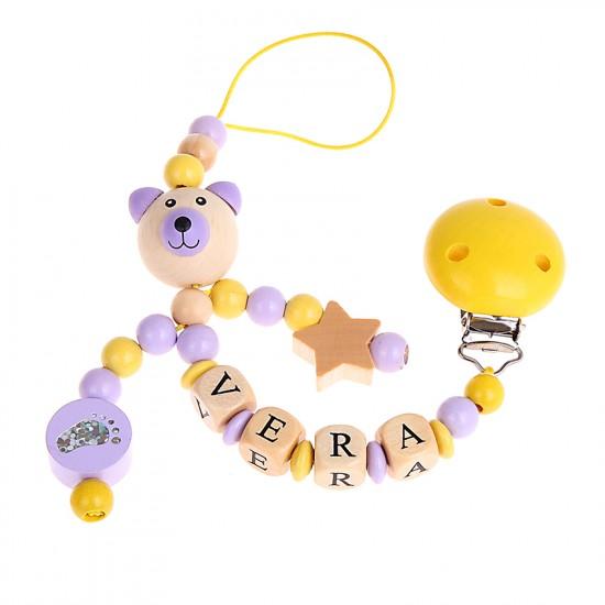 Schnullerkette Teddy-Bär 3D, Babyfuß und Stern
